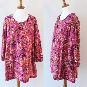 60s paisley babydoll dress